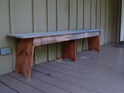 blue rustic bench